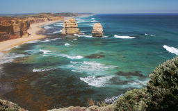 Two of the Twelve Apostles, Australia. An easterly view of two of the Twelve Apostles from a look out along the Great Ocean Road from Port Cambell in Victoria Stock Photo