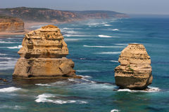 Two of the Twelve Apostles, Australia. An easterly view of two of the Twelve Apostles from a look out along the Great Ocean Road from Port Cambell in Victoria Stock Images