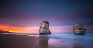 Two of the twelve apostles at sunrise from Gibsons beach, Great royalty free stock image