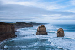 Two of the Twelve Apostles, Tourist perspective, Australia, Victoria state. Two of the nine remaining stacks, limestones. One of the biggest tourist attraction Stock Photos