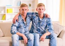 Two twin boys Stock Photos