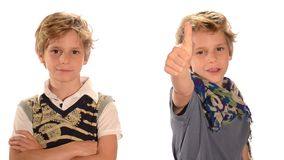 Two twin boys. On white background stock video footage