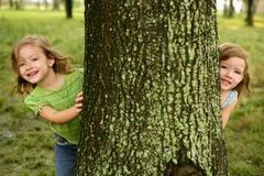 Two twin little girls playing in tree trunk Royalty Free Stock Photos