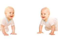 Two twins babies crawling, peering and laughing. royalty free stock photography