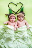 Two twins brothers babies weared in acorn hats Royalty Free Stock Image