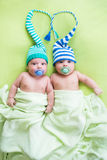 Two twins brothers babies weared in hats Stock Image