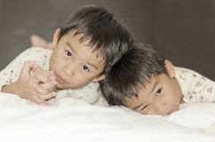 Two twins brothers Stock Images