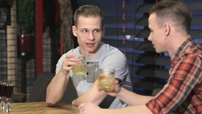 Two twins drinking alcohol at the bar. Two caucasian male twins drinking alcohol at the restaurant. Blonde male twins sitting at the table in restaurant. Young stock video footage