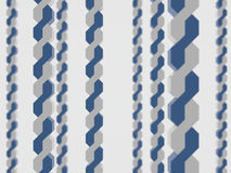 Two twisted along wrapping winding circuit fetter chain abstract depth field strand blue white background. Some few several Royalty Free Stock Photos
