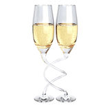 Two twisted champagne glass Royalty Free Stock Images