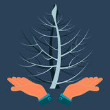 Two twisted tree in his hands. Ecological disaster, pollution of nature royalty free illustration