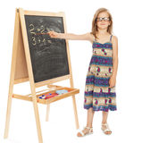 Two and twoGirl at school blackboard Royalty Free Stock Photo