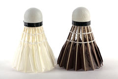 Two types of badminton shuttlecocks stock image