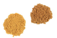 Two types brown sugar on pails. Stock Photo