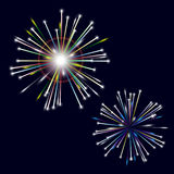 Two types of colorful shiny fireworks on black background. Eps10 Royalty Free Stock Photography