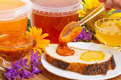 Two types of of honey, flowers and pollen Royalty Free Stock Images