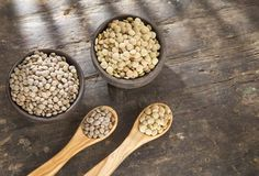 Two types of lentils - Lens culinaris Stock Images