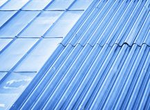 Two types of metal roofs Stock Images