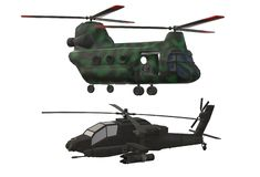 Two types of modern army combat helicopters. A computer generated illustration image of two types of army helicopters - one combat and one logistic purposes stock illustration