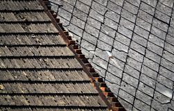 Two types of old roofs Royalty Free Stock Photo