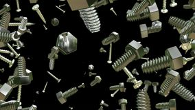 Two types of screws on black. In backgrounds stock video footage