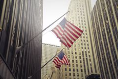 Two U.s.a. Flags Under White Clouds at Daytime Royalty Free Stock Photos