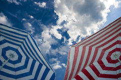 Two umbrella. Photo of two umbrella with beautiful sky in background stock photo