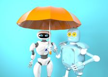 Two with umbrella, 3d render. The two robot with umbrella, 3d render royalty free illustration