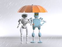 Two with umbrella, 3d render. The two robot with umbrella, 3d render royalty free stock photography