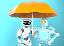 Two with umbrella, 3d render. The two robot with umbrella, 3d render royalty free stock photos