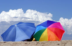 Two umbrellas. On the beach,  Caribbean islands Royalty Free Stock Photos