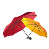 Two umbrellas - dark red and yellow. Together stock illustration