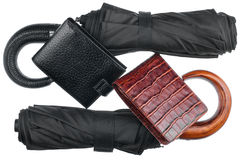 Two umbrellas and two purse Stock Image