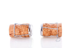 Two uncorked champagne corks Stock Images