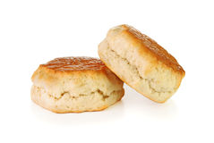 Two uncut scones. On a white background Royalty Free Stock Images