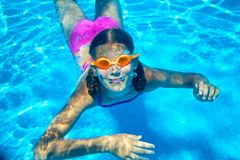 Two underwater girls Stock Photos