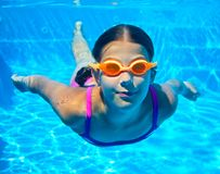 Two underwater girls stock photography