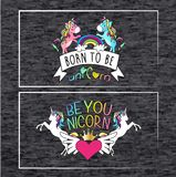 Born to be Unicorn, two designs with unicorns for t-shirt. Two unicorn designs for t shirt in melange background with inscription born to be unicon and be you stock illustration