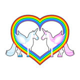 Two unicorn and rainbow heart. Symbol of  LGBT community. Pink a Stock Photos