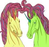 Two unicorns Stock Image