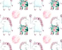 Two unicorns. Seamless pattern. Watercolor hand drawn iluustration stock illustration