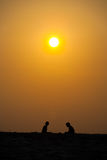 Two People Silhouette Beach Orange Sunset Sun Sky Royalty Free Stock Photography
