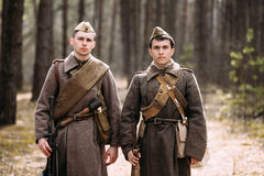 Two unidentified re-enactors dressed as Russian Stock Images