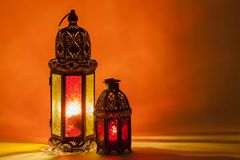 Two of unique glowing lanterns royalty free stock image