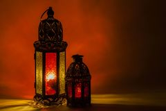 Two of unique glowing lanterns stock image