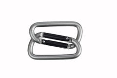 Two united grey climbing carabiner on a white background