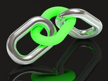 Two units are connected by a steel chain link green glow plastic Stock Photos
