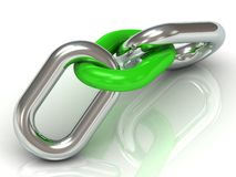 Two units are connected by a steel chain link green plastic Stock Photo