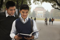 Two University Students on Campus Royalty Free Stock Images