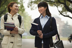 Two University Students on Campus Stock Photo